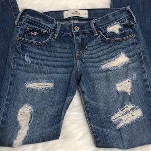 Hollister distressed denim straight  jeans sz 25